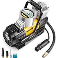 Air Compressor AstroAI Digital Car Air Pump, 100 PSI 12V Electric Portable Digital Tire Inflator with Extra Nozzle Adaptors and Fuse for Car Bike Tires and Other Automobiles
