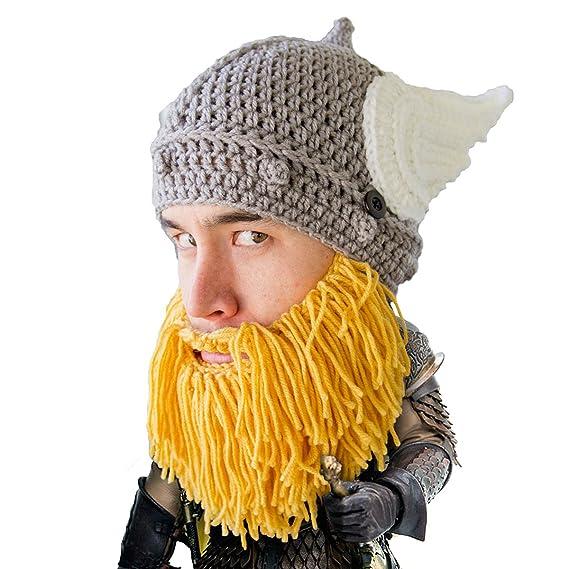 Beard Head The Original Barbarian Thor Knit Beard Hat - Yellow -  Amazon.co. uk  Clothing 58105cd568b3