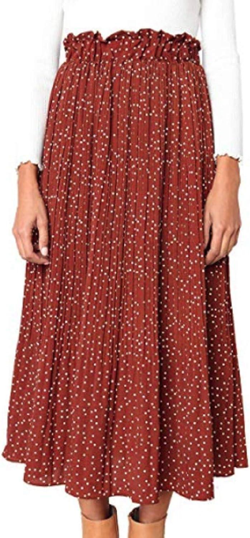 12  14 UK Size 8  10 US 1980s European Vintage Peachy Orange Elasticated Waistline Skirt with Ruffle Hemline Polka Dot Skirt