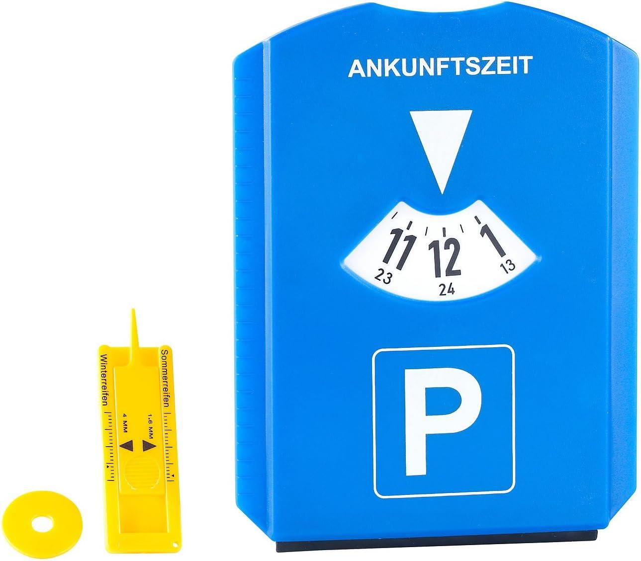 Parkscheibe mit Einkaufschip PEARL Profiltiefenmesser 2er-Set Parkscheibe mit Eiskratzer Einkaufs-Chip und Profilmesser