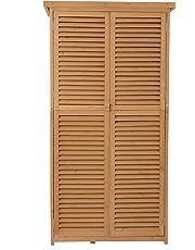 Outsunny Cobertizo de Madera Caseta de Exterior Armario para Herramientas de Jardinería Persiana Delantera Compartimientos de