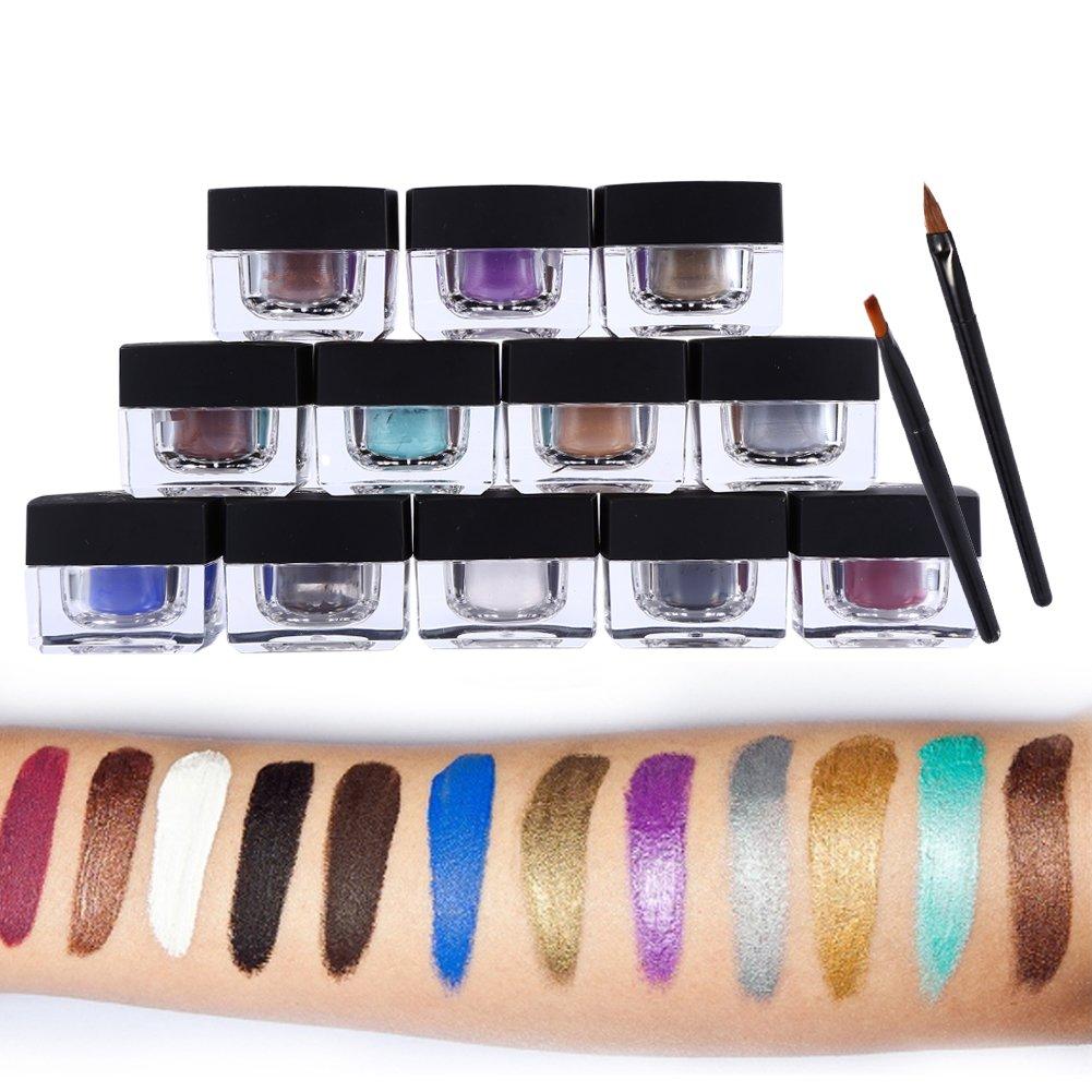 12 Colors/Set 4 in 1 Waterproof Gel Eyeliner Eye Liner Eye Shadow Eyebrow Eye Makeup Set With 8Pcs Eyeliners and Eyebrows Brush