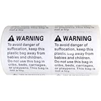 "Suffocation Warning Label Stickers 500 Stickers (1 Roll) Standard Size 2"" x 2"" (5.08 cm x 5.08 cm) Stickers FBA Approved Shipping Requirement and Packing Supplies (Poly Bag and Plastic Bag Must Need Risk of Suffocation Labels)"