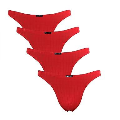 Fabio Farini 4er-Pack maskuline Herren String-Tangas in kräftigem Rot oder Nachtschwarz