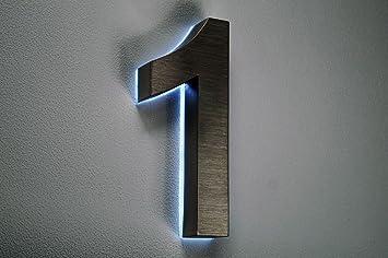 Hausnummer Beleuchtet hausnummer edelstahl nr 1 h18cm v2a beleuchtet led weiss