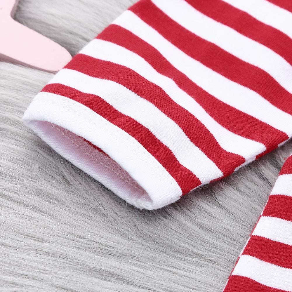 Sagton Baby Stripe Cartoon Christmas Deer Long Sleeve Romper Toddler Newborn Boys Girls Onepiece Jumpsuit Outfit