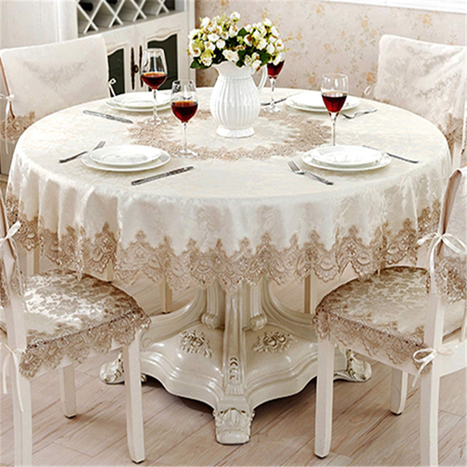 ylovego Classical Round Tablecloth For Table Decor Jacquard Lace Elegant Table Cloth Dining Table Cabinet Cover Chair Set 180cm Round