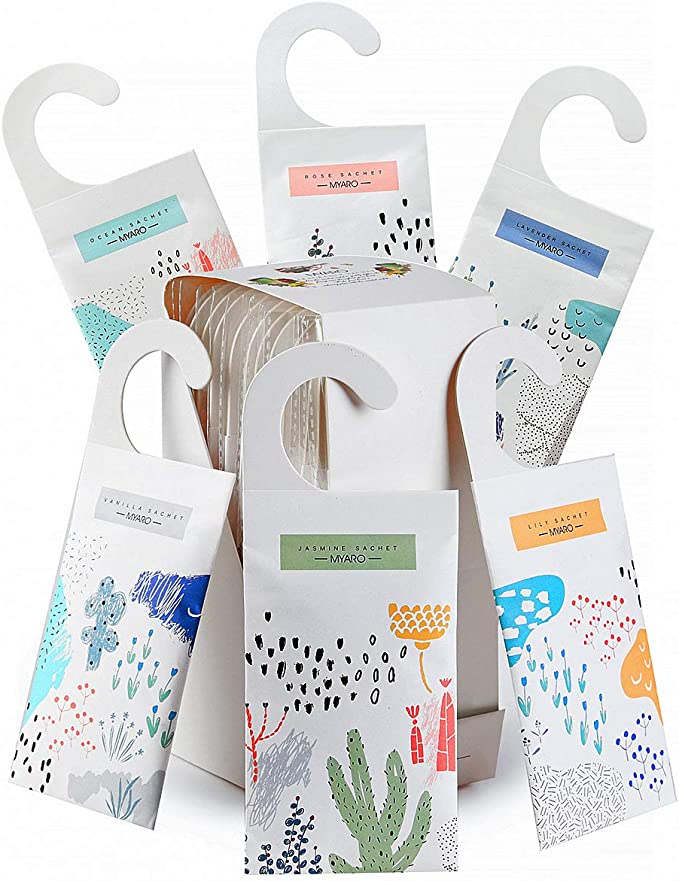 Amazon.com: MYARO Large 12 Packs Scented Sachets for Drawer and Closet with Hanger, Long-Lasting Sachets Bags Home Fragrance Sachet 6 Scents Option- Lavender, Rose, Jasmine, Ocean, Vanilla, Lily: Home & Kitchen