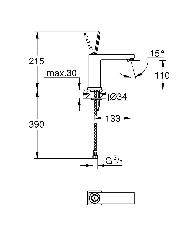 Grohe 23657000 Miscelatore Monocomando per Lavabo Taglia M Eurocube Joy Cromo