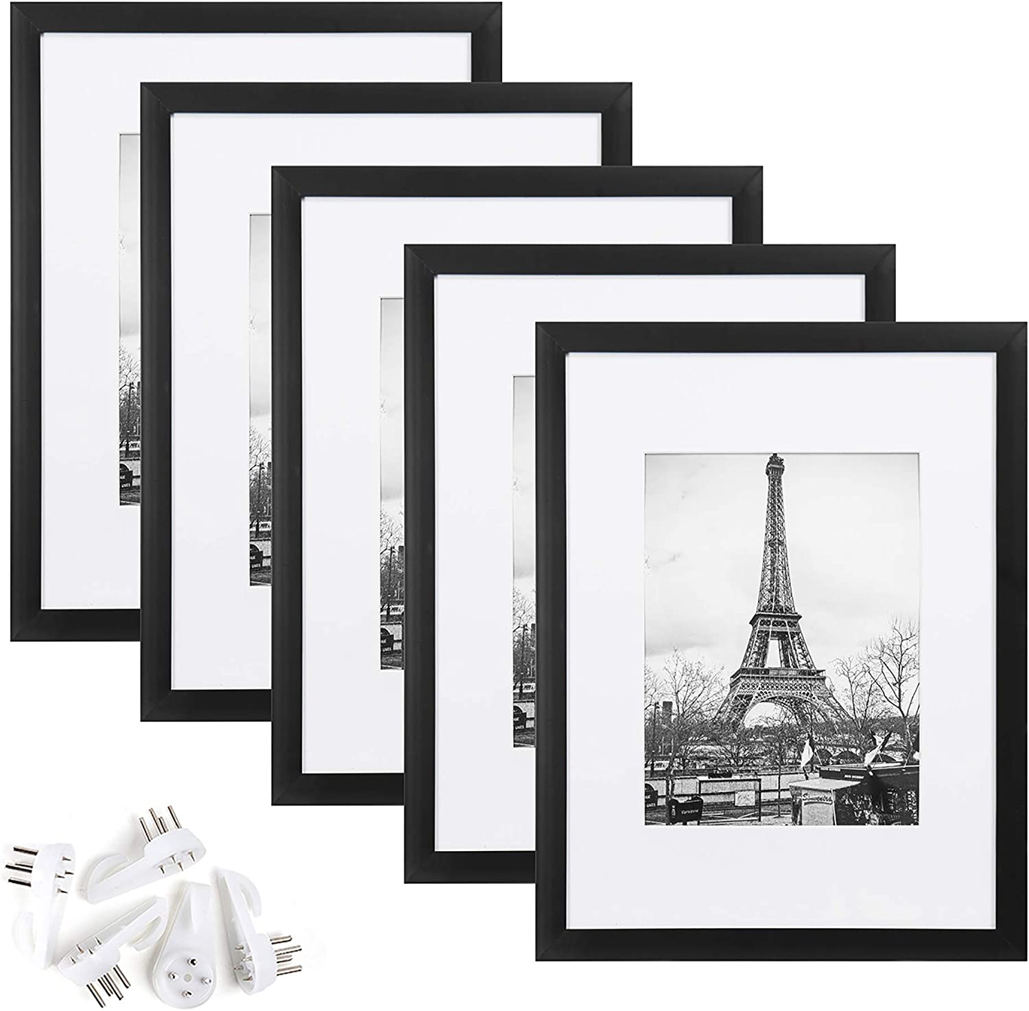 upsimples 9x12 Picture Frame Set of 5,Display Pictures 6x8 with Mat or 9x12 Without Mat,Wall Gallery Photo Frames,Black