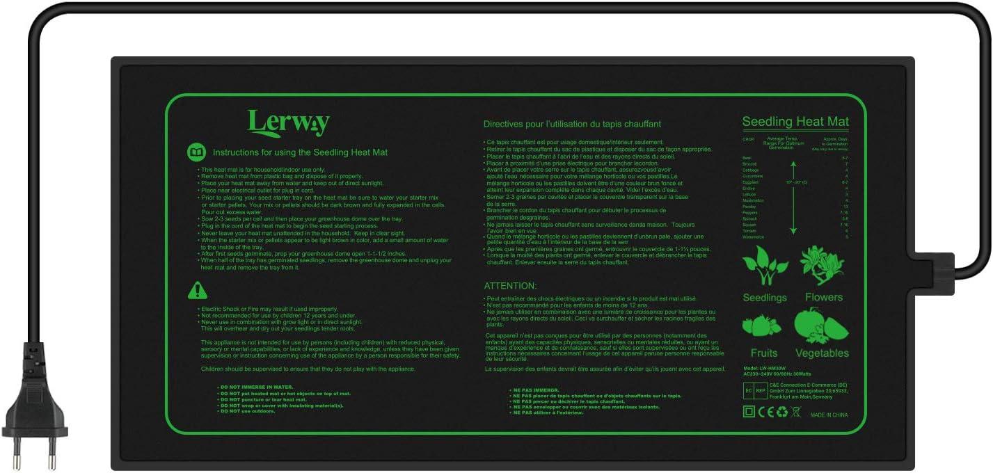 LERWAY Mantas Calefactoras Alfombrilla de Calentamiento de Cultivo Plántula, Accesorios para Acuario Semillas Calentador de Reptiles de Jardinería Invernaderos de Germinación 21W 20,75