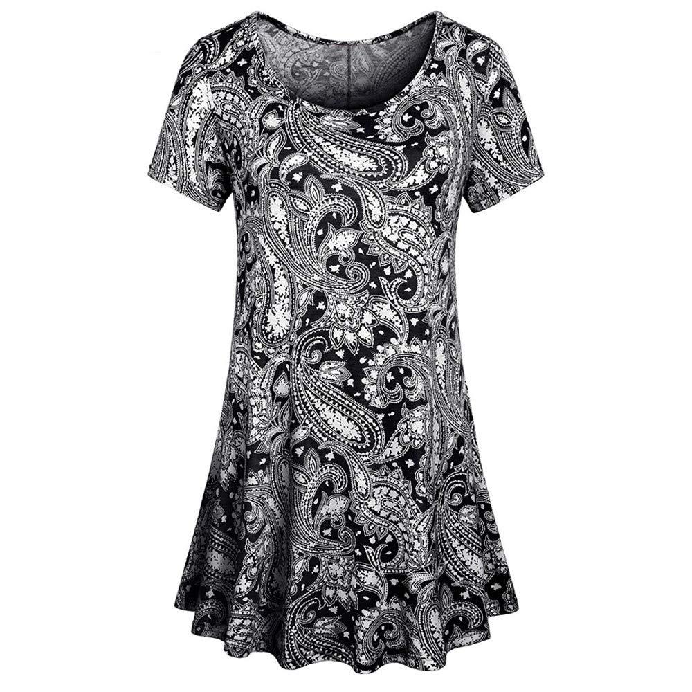 Wugeshangmao Womens Tops Fashion Teen Girl's Summer Sexy Short Sleeve O Neck Floral Print Tops Shirt Tank Tops Blouses Black