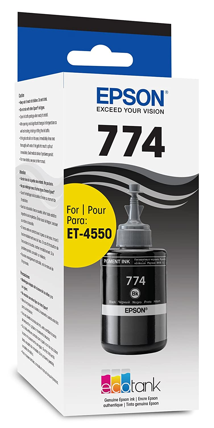 Amazon.com: Epson T774120-S EcoTank Pigment Black Ink Bottle: Office  Products