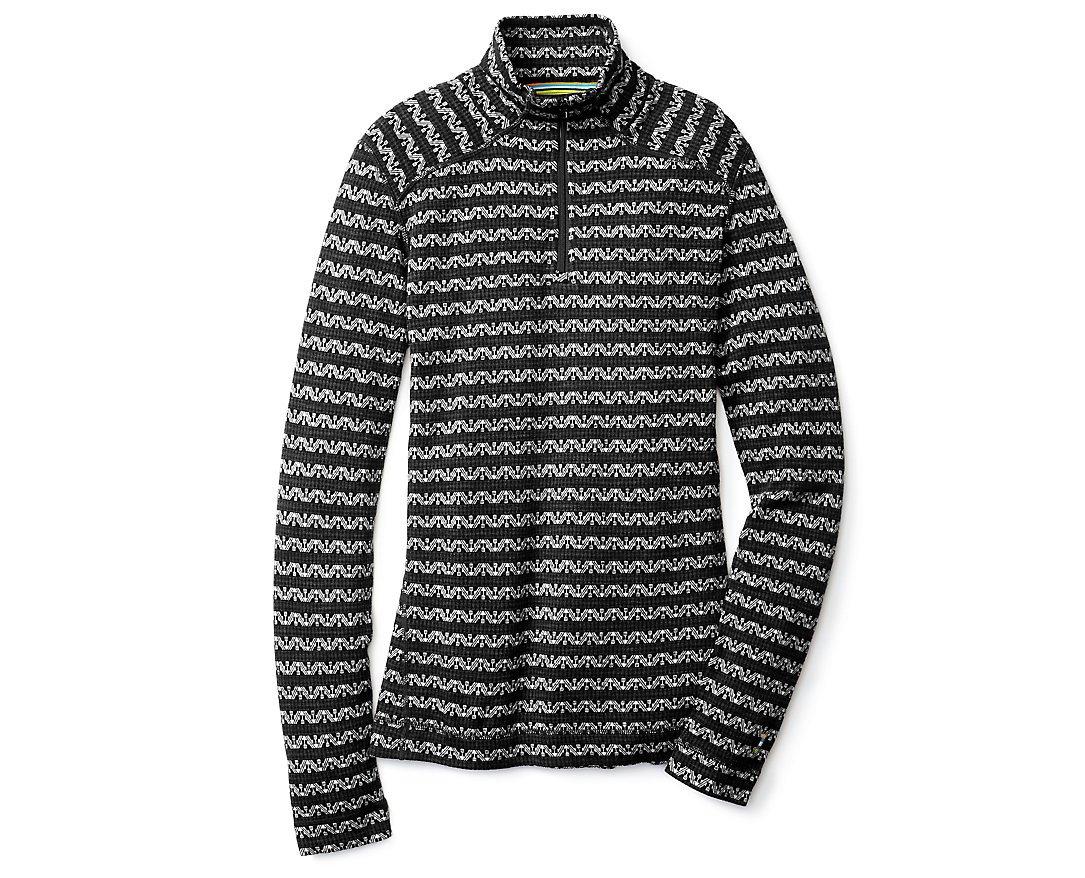 SmartWool Women's Merino 250 Baselayer Pattern 1/4 Zip (Black/Charcoal- Past Season) Small