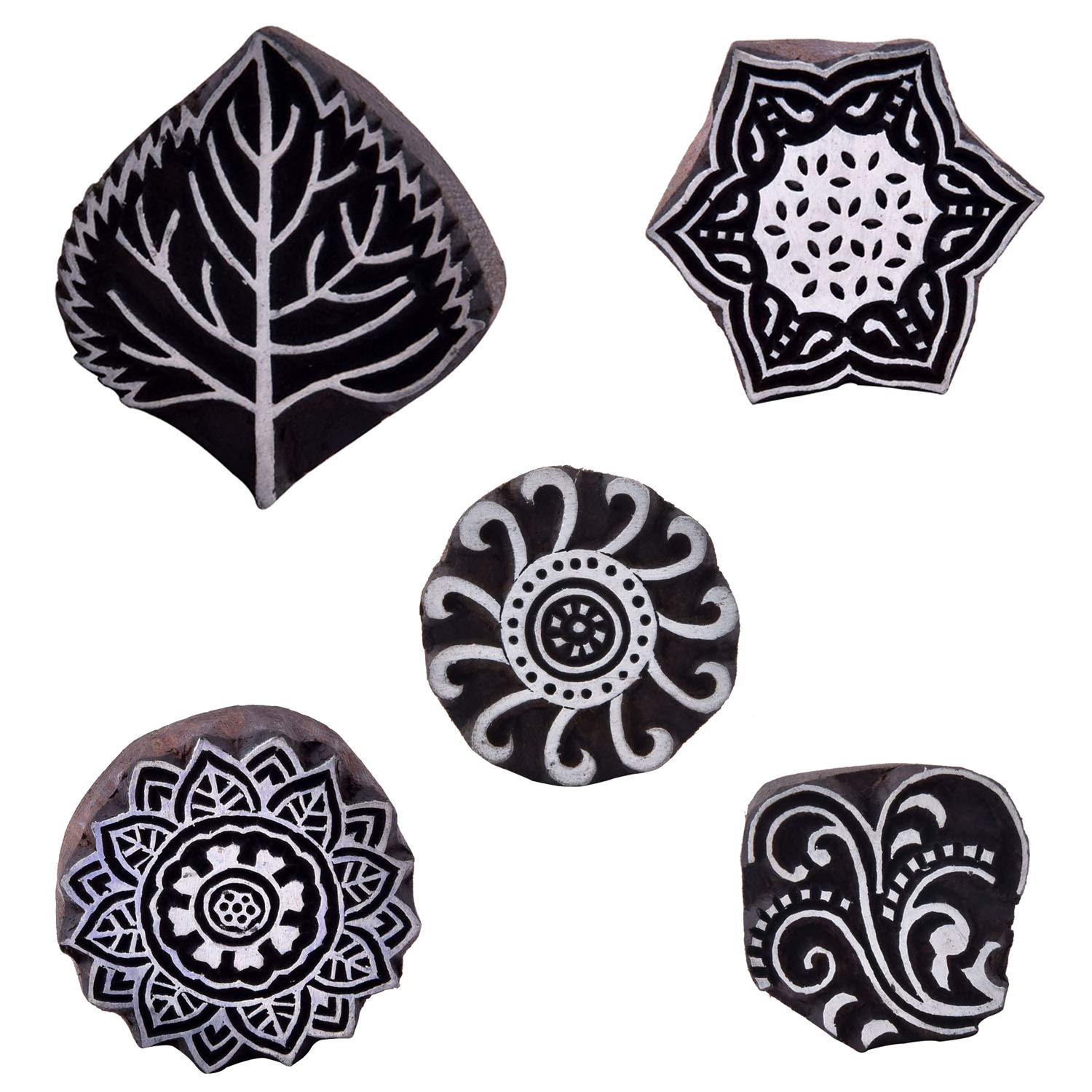 Printing Block Wooden Textile Stamp Leaf & Floral Pottery Fabric Clay Project Heena Tattoo Craft Blocks Pack of 5 by CraftyArt