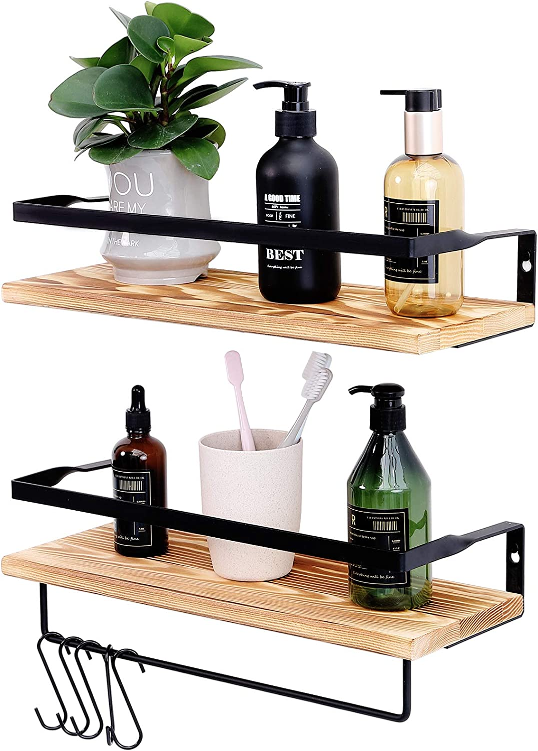 Floating Shelves Wall Mounted, Wall Storage Shelves with Towel Bar and 5 Removable Hooks for Kitchen, Bathroom, Gift for Mom, Set of 2 (Wooden)