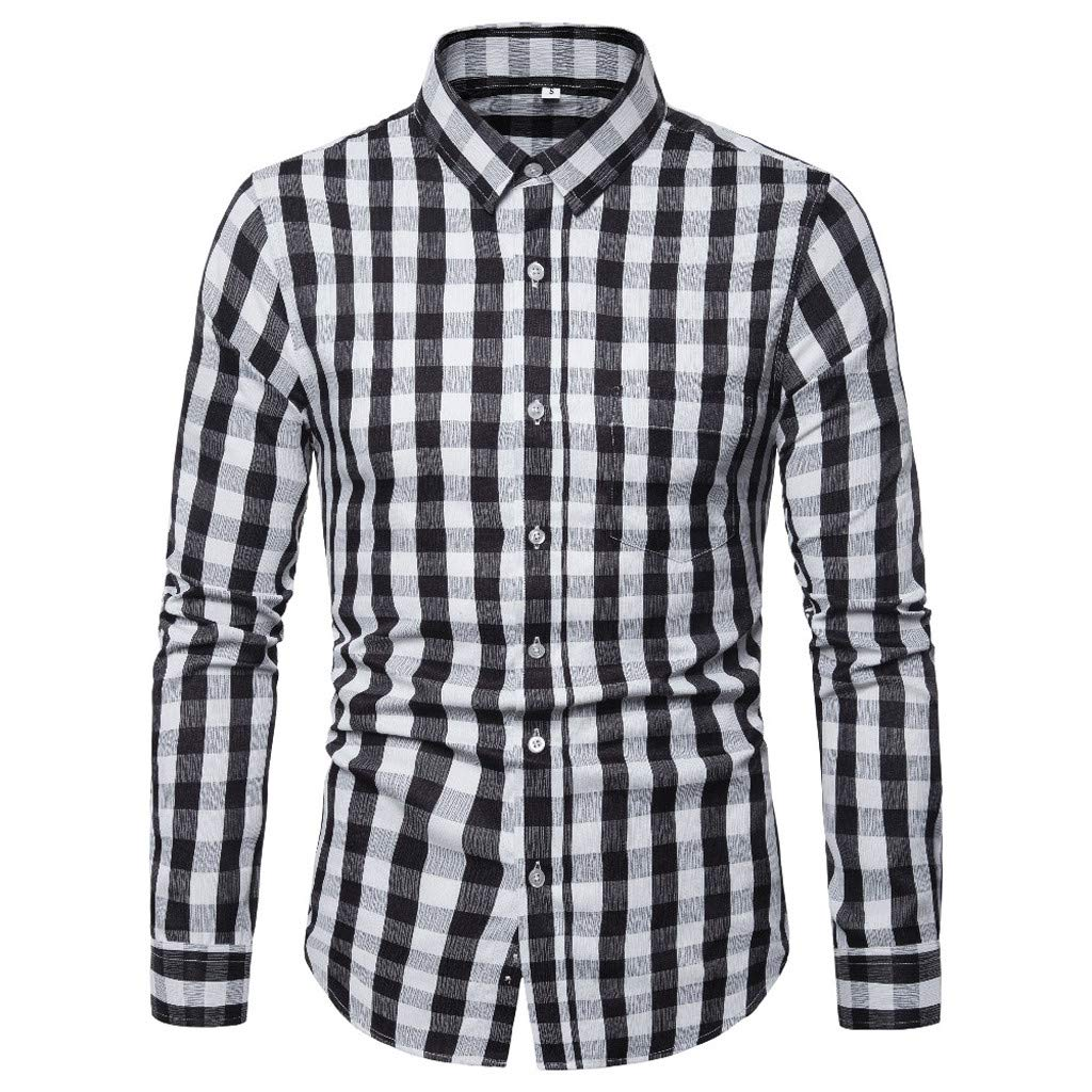 Graysky Mens Splice Pocket Classic Striped Plaid Buttons Shirt Slim Fit Long Sleeve Tops Tee T-Shirts