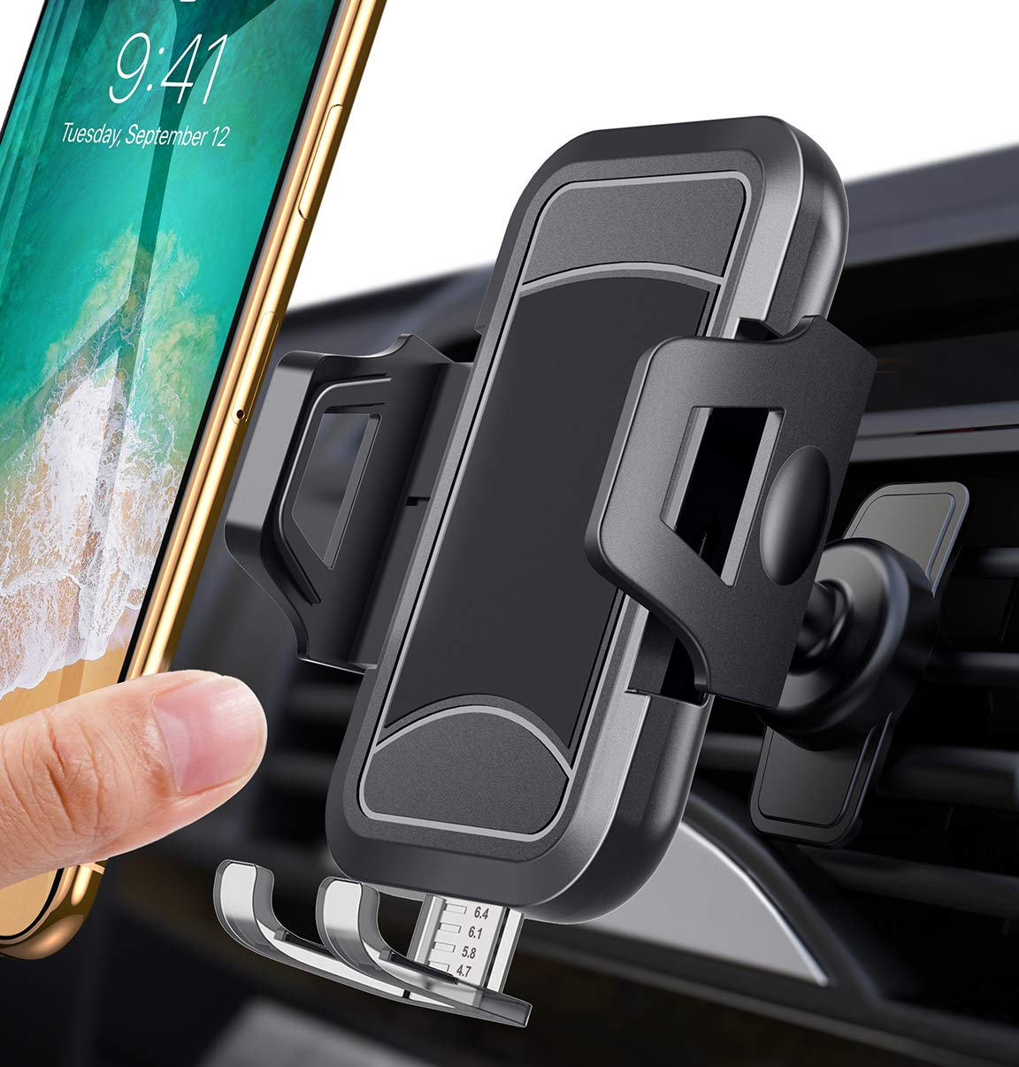 itaomi [German Tech Guarantee] Air Vent Car Phone Mount, Universial Smartphone Cell Phone Holder Compatible with iPhone Xs XS Max XR X 8 8+ 7 7+ SE 6s 6+ 6 5s 4 Samsung Galaxy S10 S9 S8 etc by itaomi