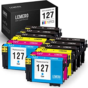 LEMERO Remanufactured Ink Cartridge Replacement for Epson 127 T127 for Workforce WF-3540 WF-3520 630 60 545 645 WF-7510 WF-3530 Stylus NX625 NX530 (6 Black, 2 Cyan, 2 Magenta, 2 Yellow, 12 Pack)