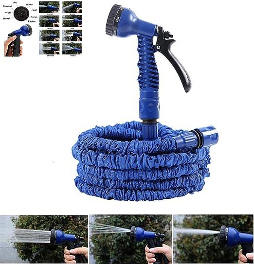 NBD - Manguera de riego para jardín (longitud retráctil 7, 5 m/45 m, pistola de riego, 7 tipos de chorro, flexible, ligera, con conector de grifo, conector rápido y boquilla multifunción), color