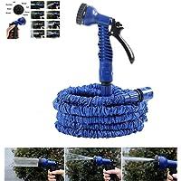 NBD - Manguera de riego para jardín (longitud retráctil 7,5 m/45 m, pistola de riego, 7 tipos de chorro, flexible, ligera, con conector de grifo, conector rápido y boquilla multifunción), color azul
