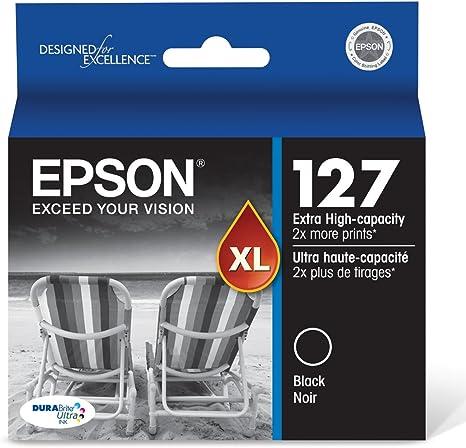 Epson T127120 Stylus NX530 625 WorkForce 545 60 630 633 635 645 840 845 WF-3520 3530 3540 7010 7510 7520 Ink Cartridge (Black) in Retail Packaging