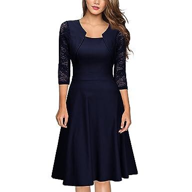Damen Arbeit Kleid Abendkleid Cocktailkleid 3 4 Arm mit Spitzen Ballkleid  Party Cocktail Kleid Gr 34-48  Amazon.de  Bekleidung af64d12271