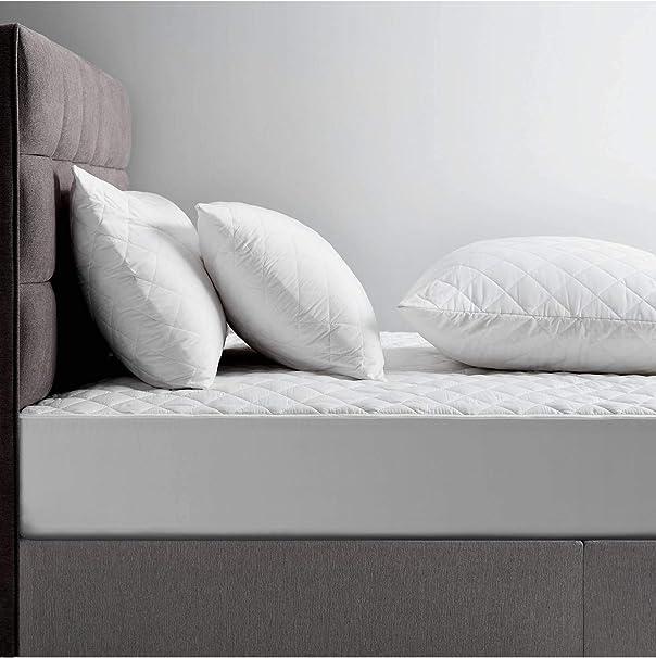 Protector de colchón acolchado de algodón natural, algodón, Super_King_182x200X40: Amazon.es: Hogar