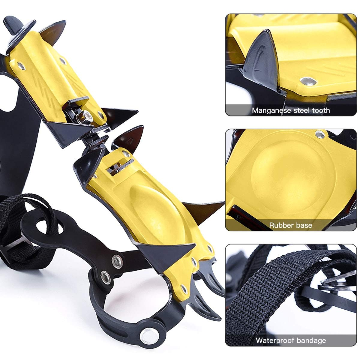 Walsilk Crampons Traction Cleats Spikes Snow Grips,Anti-Slip Stainless Steel Crampons for Mountaineering /& Ice Climbing