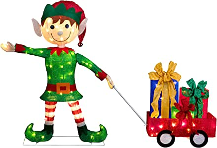 "Amazon.com: 42"" Elf Pulling Wagon Outdoor Lighted ... on Backyard Decorations Amazon id=77734"
