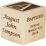 "Personalized Baby Baptism Gifts, Baptism Wood Block, Baptism Gifts For Godparents, Baby Boy, Baby Girl, Baby Dedication Gifts, Wood Baby Block, Unique Baptism Gifts (2"")"