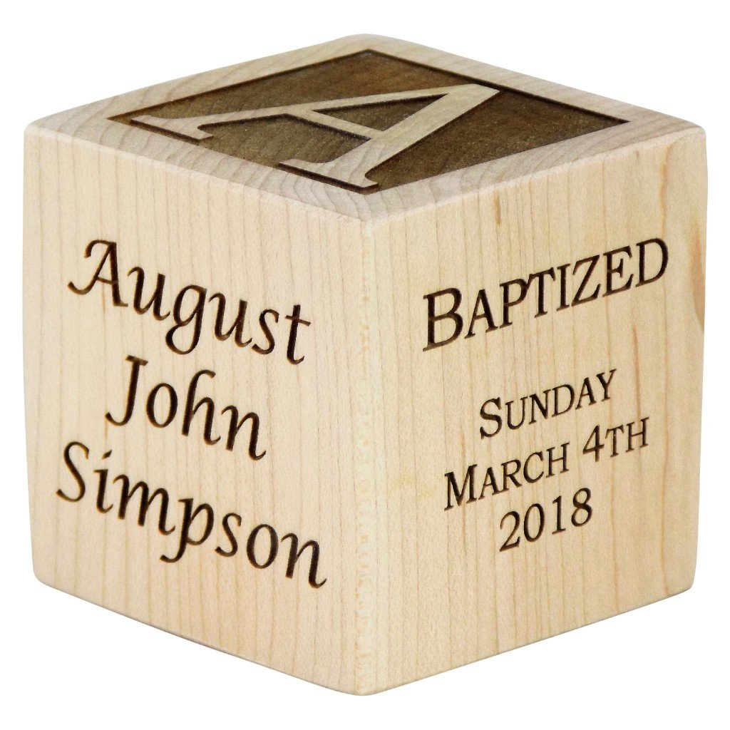 Personalized Baby Baptism Gifts, Baptism Wood Block, Baptism Gifts for Godparents, Baby Dedication Gifts, Wood Baby Block, Unique Baptism Gifts (2 1/2'')