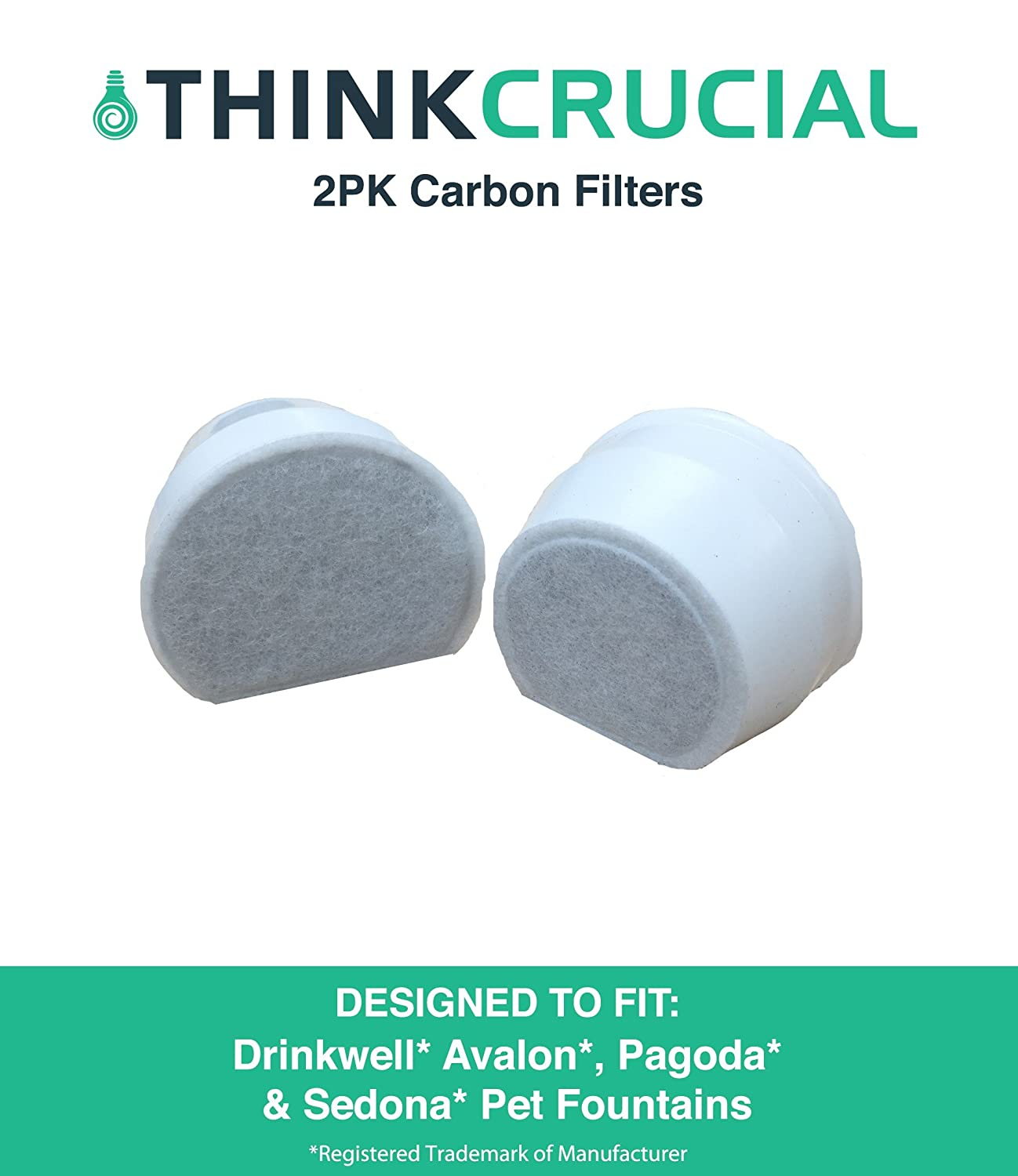 2 Replacements for Drinkwell Carbon Filters Fit Avalon, Pagoda & Sedona Drinkwell Pet Fountains, by Think Crucial