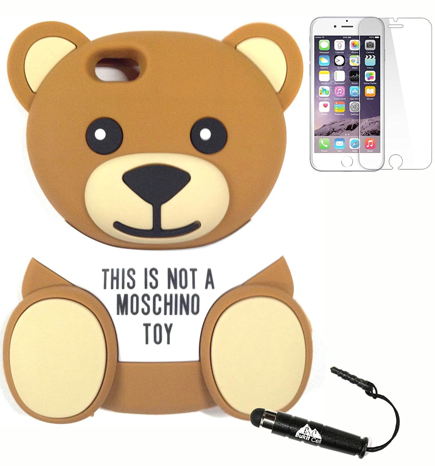 buy popular 76b41 a2725 Bukit Cell Bundle: Moschino Toy 3D Teddy Bear Soft Silicone Case for 4.7  Inch Iphone 6s / Iphone 6[ NOT for Iphone 6 plus ] , Screen Protector + ...