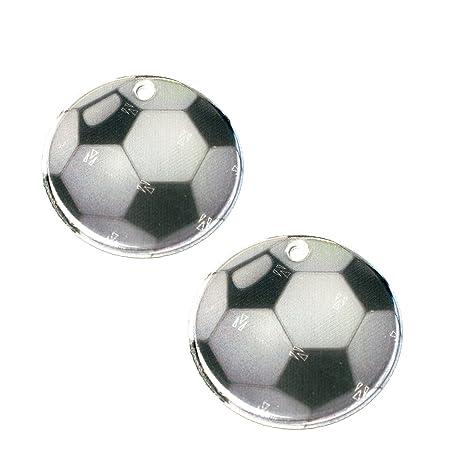 2 colgantes reflectores de fútbol Ø 5cm incluye cadena para cartera, chaqueta, mochila.