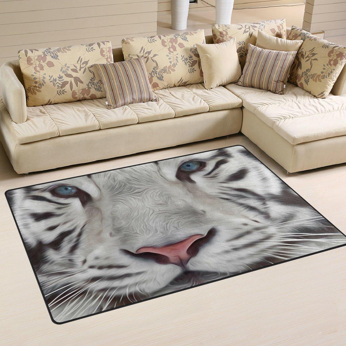 Naanle - Alfombra Antideslizante para saló n, saló n, Dormitorio, Cocina, 50 x 80 cm, diseñ o de Tigre Animal, Alfombra para guarderí a, Alfombra de Yoga, 50 x 80 cm(1.7' x 2.6') salón diseño de Tigre Animal
