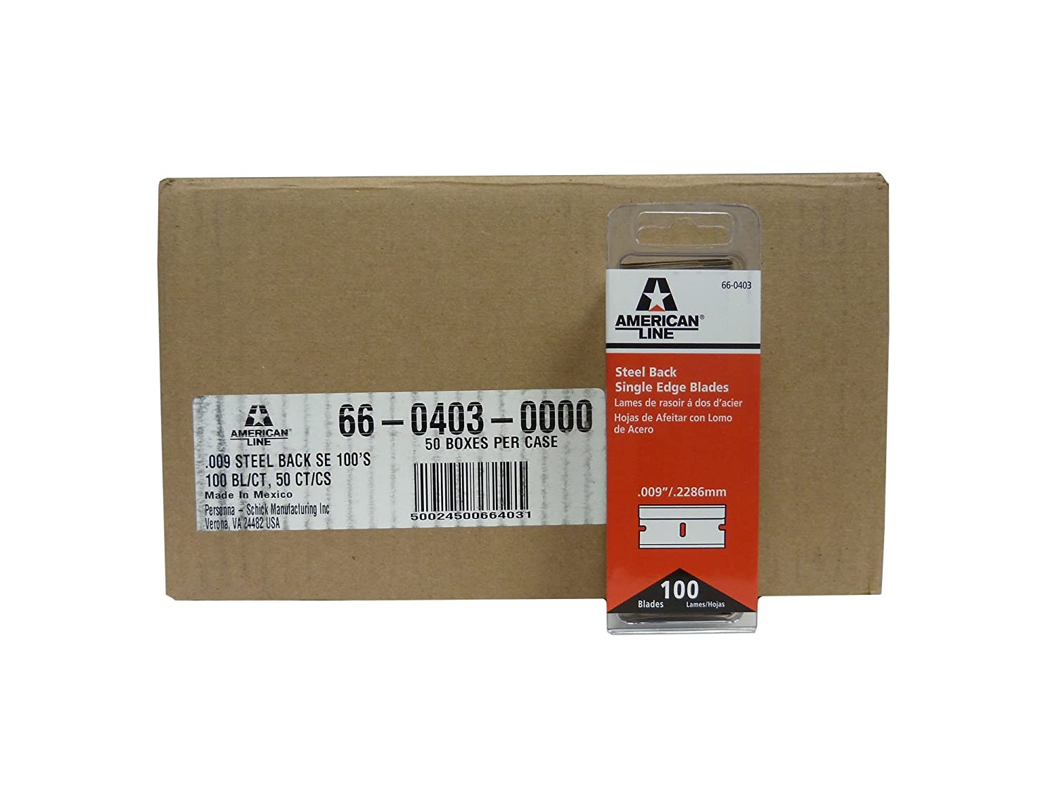 Image of American Line 66-0403CS Single Edge Blades, Steel Back, 0.009' Carbon, Duro Edge, Wrapped (Pack of 5000) Abrasive Accessories