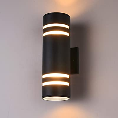 Outdoor Wall Light, Naturous Exterior Lighting - ETL Listed, Aluminum Waterproof Wall Mount Cylinder Design - Up Down Light Fixture for Porch, Backyard and Patio [Black]