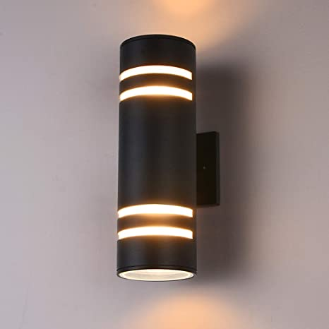 Outdoor Indoor IP54 Round Square Up Down Wall Light Stainless Steel or Black