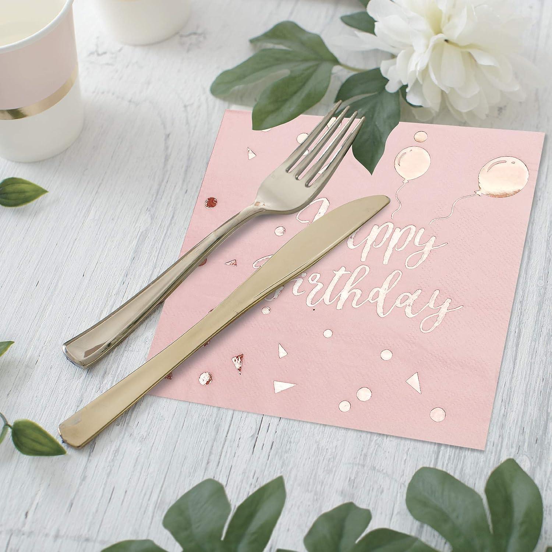iZoeL 50Stk Geburtstag Servietten Rosegold Happy Birthday Servietten 33x33cm 3-lagig Pink Papierservietten f/ür Rosa Gold M/ädchen Party Deko
