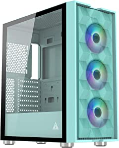 GOLDEN FIELD MAGE-U Computer Case Gaming PC ATX/MATX/ITX Case Mid Tower with 3 Colorful LED Fans Tempered Class Side Panel, Mesh Front Panel (Blue-Green)