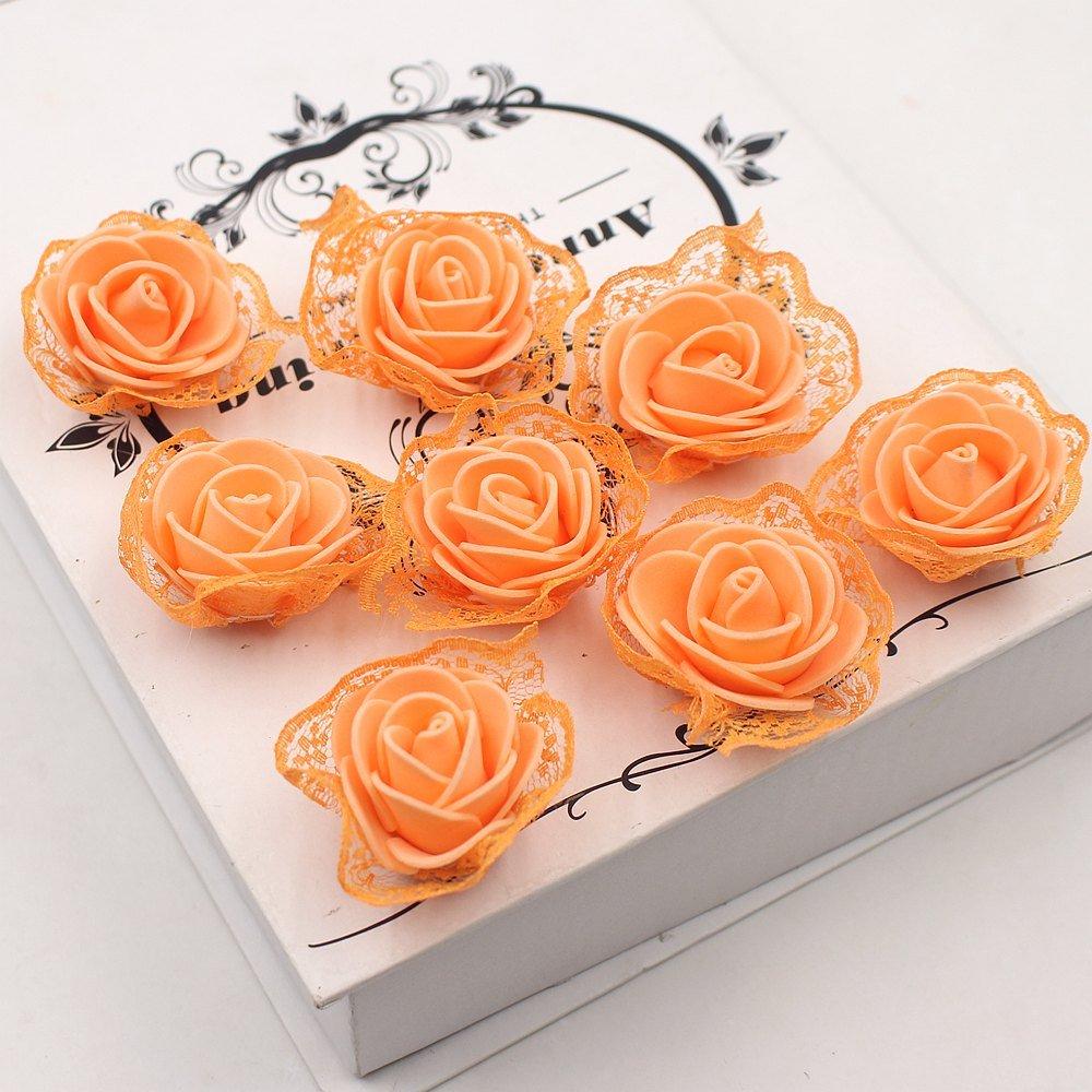 Fake花Foamレースローズ人工花ウェディングデコレーションDIYパーティー祭ホームデコレーション装飾花輪30pieces オレンジ B07CCGV9R7  オレンジ