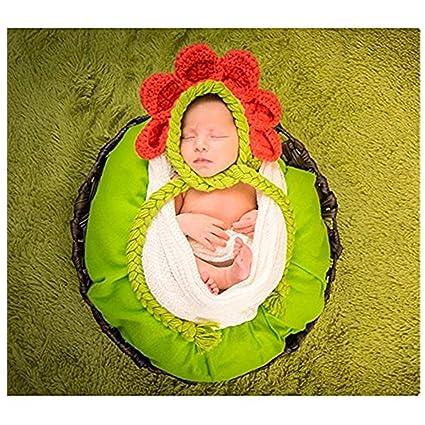 Bebé recién nacido fotografía apoyos niño Niña Gorro de Crochet disfraz  trajes flores d5be76756b2