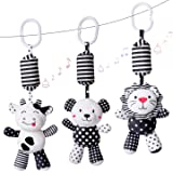 rolimate Baby Toy Cartoon Animal Stuffed Hanging Rattle Toys, Baby Bed Crib Car Seat Travel Stroller Soft Plush Toys…