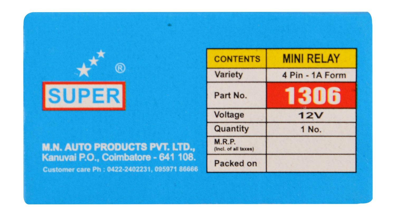 Super 1306 Universal 4 Pin Mini Relay Car Motorbike Electrical Numbers