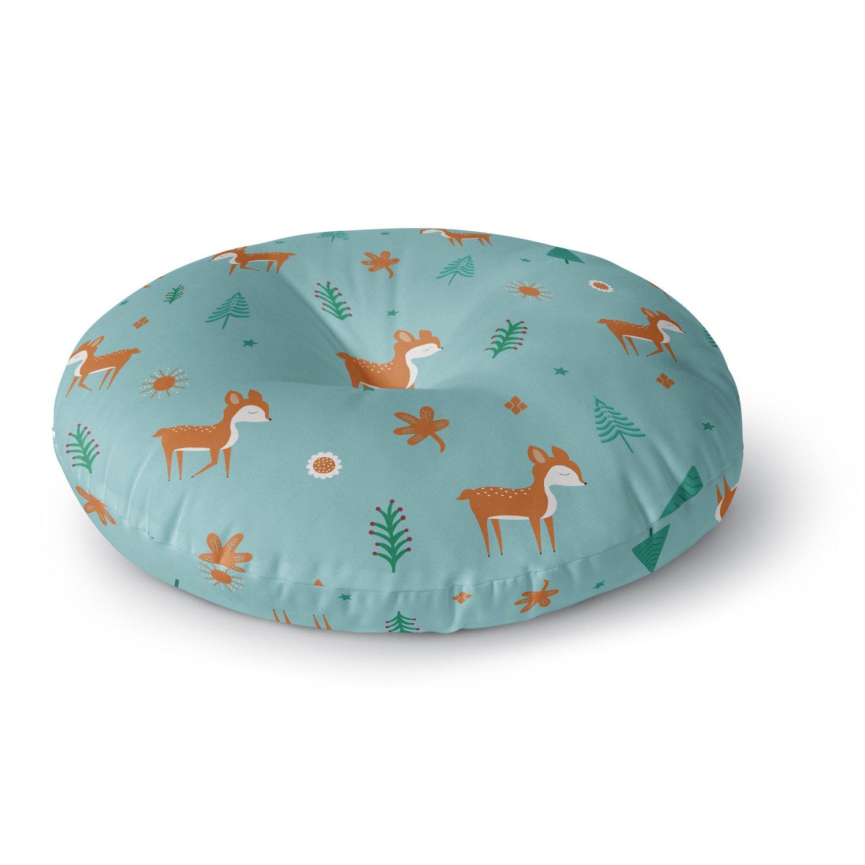 KESS InHouse Cristina Bianco Design Cute Deer Pattern Teal Kids Round Floor Pillow, 26''