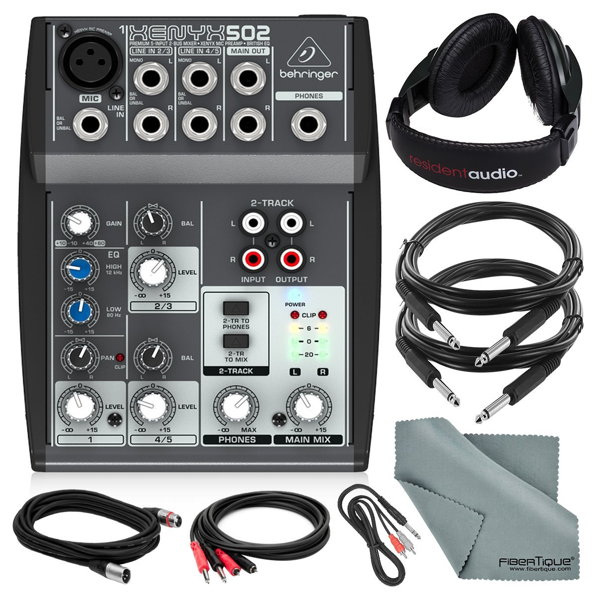 Behringer XENYX 502 5-Channel Audio Mixer and Deluxe Bundle w/ Stereo Headphones, 5X Cables, and Fibertique Cloth by Photo Savings