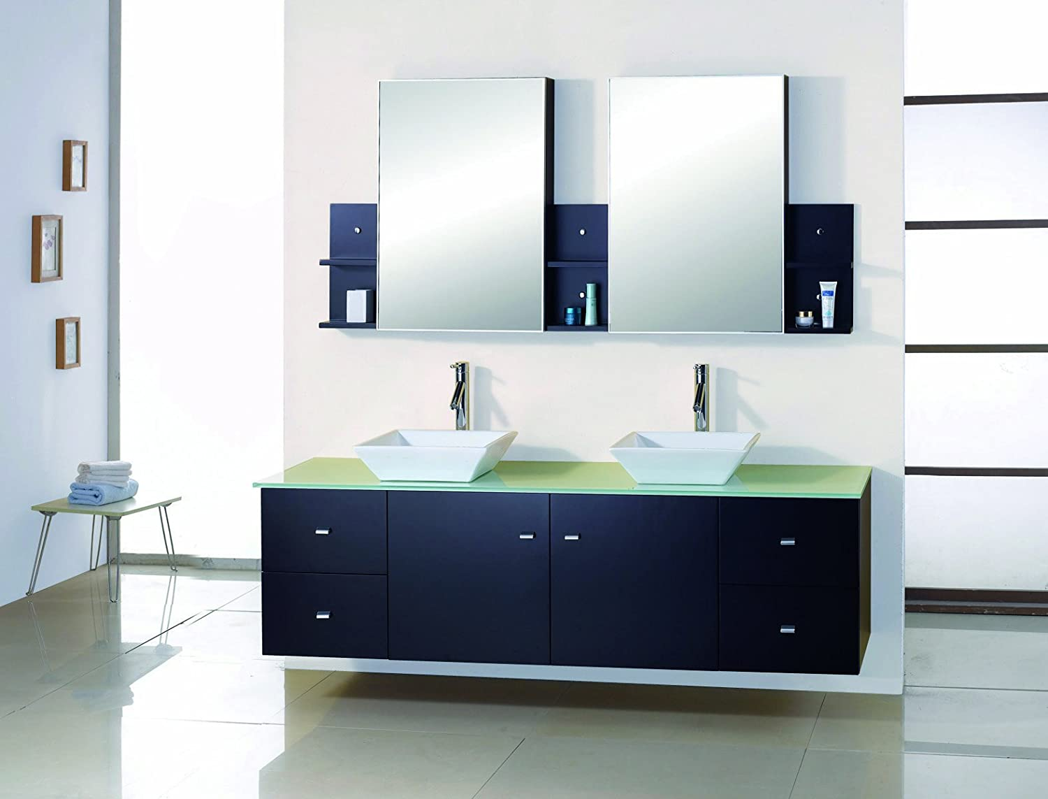 virtu usa md409ges clarissa 72inch wallmounted double sink bathroom vanity set with mirrored cabinets espresso finish modern vanity cabinet