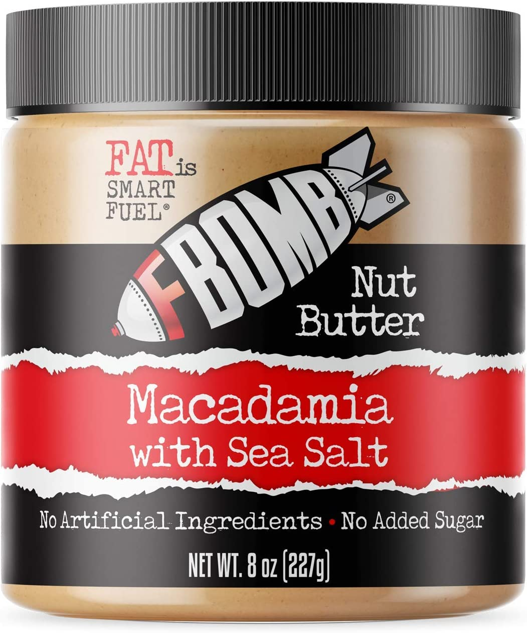 FBOMB Macadamia Nut Butter: Keto Fat Bombs, Natural Roasted Macadamia Nuts | High Fat, Low Carb Snack, High Quality Energy | Paleo, Whole30, Keto Snacks | Macadamia & Sea Salt - 8 Oz Jar