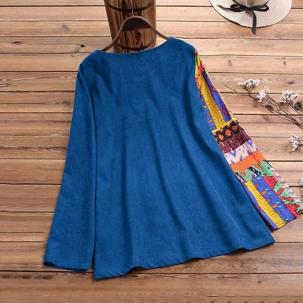 Lataw Womens Shirts Casual Tops Loose Stylish Button Patchwork Splice Linen Plus Size Tunics T-Shirt Blouse Clothes
